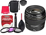 Canon EF 85mm f/1.8 USM Lens for Canon DSLR Cameras - International Version (No Warranty) + 3pc Filter Kit (UV, FLD, CPL) + 3pc Accessory Kit w/ Celltime Cleaning Cloth