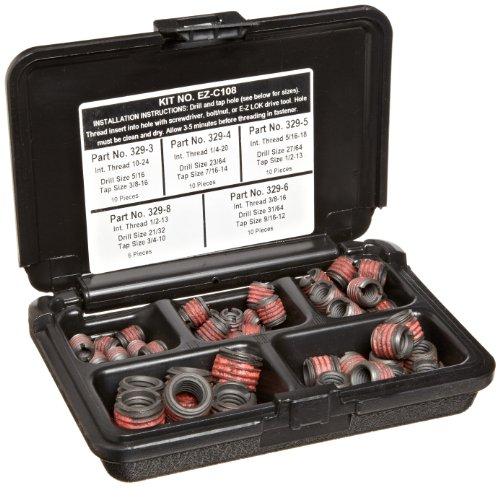 Assortment Metal (E-Z Lok Threaded Inserts For Metal; Assortment Kit; Carbon Steel; Heavy Wall; UNC Internal Threads, 10-24, 1/4-20, 5/16-18, 3/8-16, 1/2-13; 46 pieces)
