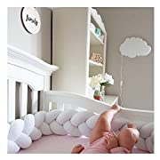 Infant Soft Pad Braided Crib Bumper Knot Pillow Cushion Cradle Decor for Baby Girl and Boy (White, 79 )