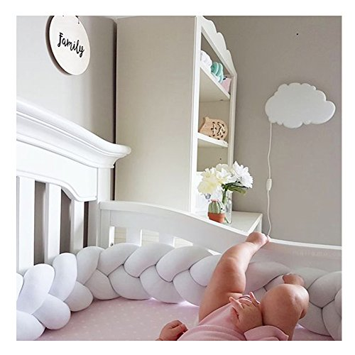 Infant Soft Pad Braided Crib Bumper Knot Pillow Cushion Cradle Decor for Baby Girl and Boy (White, 118″)