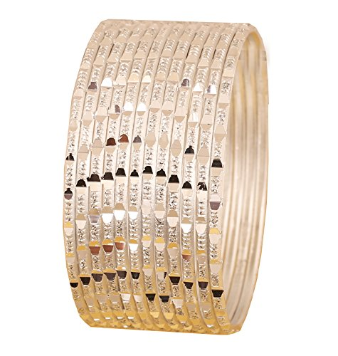 Touchstone New Colorful Dozen Bangle Collection Indian Bollywood Rich Glossy White Textured Color Pretty Cut Work Designer Jewelry Bangle Bracelets. Set of 12. in Silver Tone for Women.