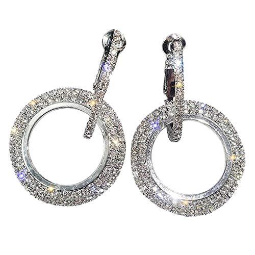 Yanvan Round Earrings for Women, Luxury Round Diamond Earrings Women Silver Gold Rosegold Glitter STU