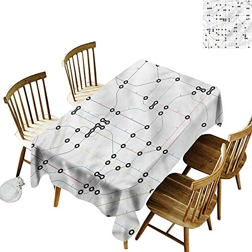 (one1love Washable Tablecloth Map Colorful Lines Metro Scheme Table Cover for Dining 60