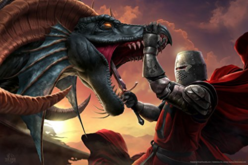 Dragon Slayer Poster - The Dragon Slayer Knight Tom Wood Fantasy Art Poster 12x18 inch