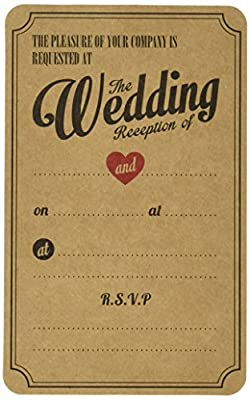 Ginger Ray Vintage Affair Evening Wedding Reception Kraft Wedding Invitations (10 Pack), Brown
