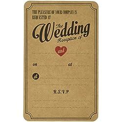 Ginger Ray Vintage Affair Evening Wedding Reception Kraft Wedding Invitations (10 Pack), Brown