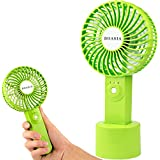 Powerful USB Handheld Fan, Rechargeable Battery Operated, Personal Cooling Fan with Detachable Base, Mini Portable for Office Working and Outdoor Traveling, Camping, Wedding, Beach, Picnic (Green)
