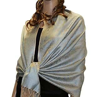 Paskmlna Paisley Jacquard Pashmina Shawl Wrap Scarf Stole (beige-babyblue01882)