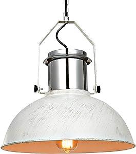 "Karmiqi Contemporary Industrial Nautical Pendant Light, 15.3"" White Metal Vintage Barn Ceiling Hanging Pendant Lighting Fixture, Adjustable Farmhouse Hanging Light for Kitchen Island Dining Room"