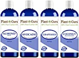 Carrier Oil Variety Set 16 oz - Cold Pressed 100% Pure Natural, Almond, Avocado, Coconut Fractionated, Grapeseed. For Aromatherapy, Essential Oils, Skin and Hair Moisturizer. Perfect for Body Massage.