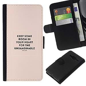 KLONGSHOP // Tirón de la caja Cartera de cuero con ranuras para tarjetas - Corazón Cita inspiradora María Oliver Peach - Samsung Galaxy Core Prime //