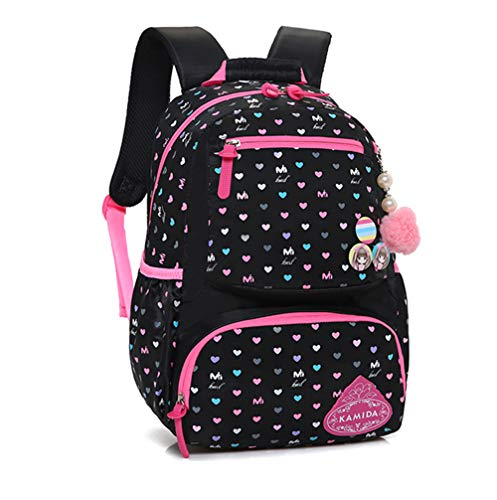 - LIEOAGB Children Backpack Student School Bag Daypack for Girls Boys Sweetheart Pattern Kids Ruckpack-Black-S