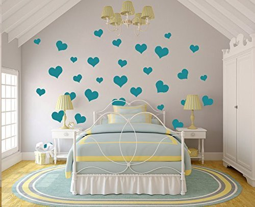 N.SunForest 40 Teal Pleasure Hearts Vinyl Wall Decals Removable DIY Décor Stickers Baby Nursery Wall Art Mural