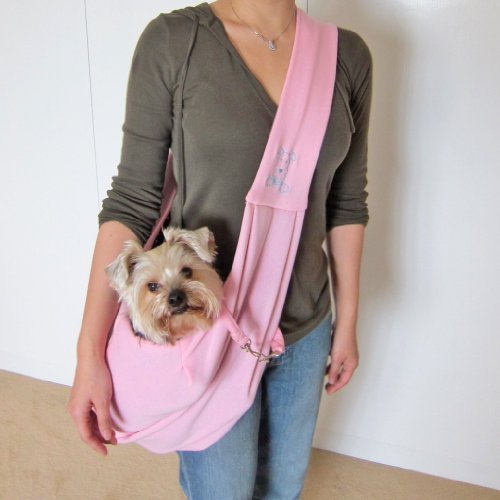 Dogloveit Chico Reversible Pet Sling Carrier, Pink