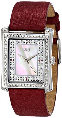 Burgi Women's BUR088BUR Swiss Quartz Crystal Mother-of-Pearl Burgundy Leather Strap Watch