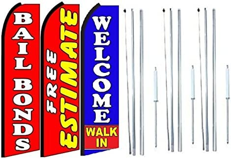 Pack of 3 Free Estimate Welcome Walk in King Swooper Feather Flag Sign Kit with Complete Hybrid Pole Set Bail Bonds