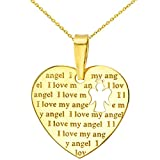 14K Yellow Gold Heart Charm with I Love My Angel Script Pendant Necklace, 22''