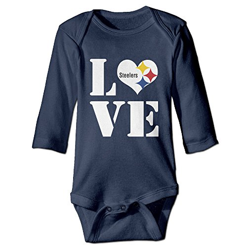 U9 6-24 Months Newborn Babys Boy's & Girl's Pittsburgh Love Steelers Long Sleeve Romper Bodysuit Outfits Navy Size 24 (Stop Sign Toddler Costume)