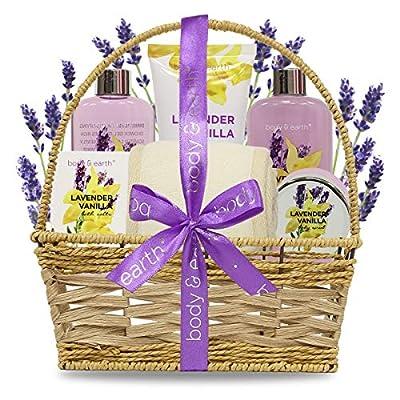 Bath Spa Set, Body & Earth Luxury 6-Piece Gift Set for Women/Men Lavender & Vanilla Scent - Contains Body Wash, Bubble Bath, Body Lotion, Bath Salt, Bath Scrub, Back Scrubber