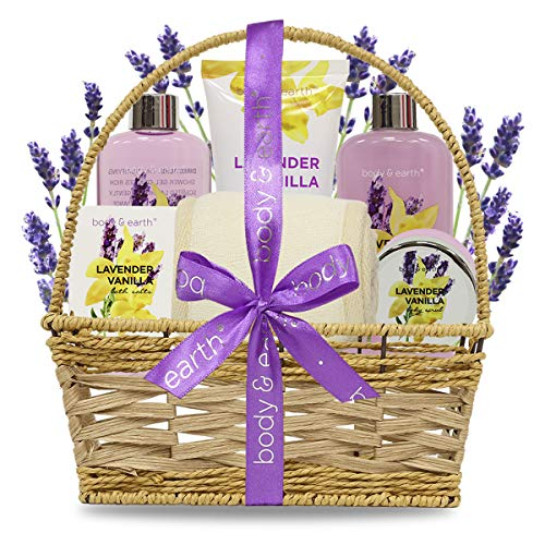 Spa Basket Gift Set for Women: Relaxing at Home Spa Bath Kit - Lavender and Vanilla Scent - Includes Shower Gel, Bubble Bath, Body Lotion, Bath Salts, Body Scrub, Back Scrubber from BODY & EARTH