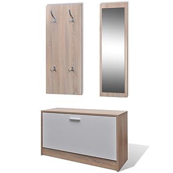 Vidaxl Garderoben Set Flur 3 In 1 Schuhschrank Spiegel Garderobenpaneel Eiche
