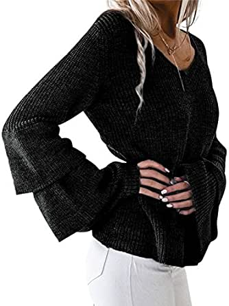 Simplee Women's Winter Warm V Neck Long Sleeve Pullover Sweater with Ruffles