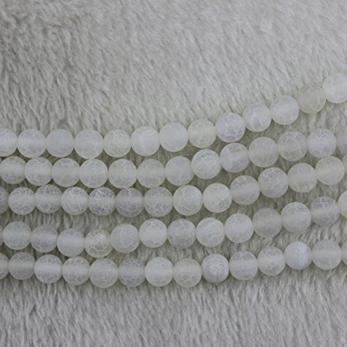 8mm White Round Frosted Fire Crackled Agate Beads Loose Gemstone Beads for Jewelry Making Strand 15 Inch (1 x Screw Clasp Included)
