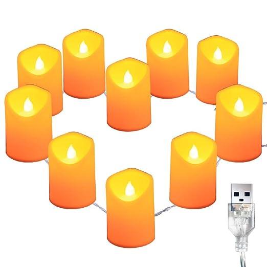 WANGLAI Luces de velas LED 10 piezas Velas sin llama ...