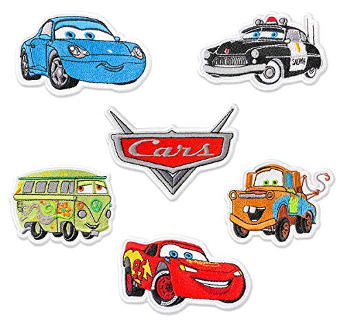 Cars Collection Set (Logo, Lightning McQueen, Mater, Sally Carrera, Sheriff, Fillmore) Embroidered Patches Iron On