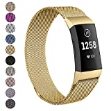Hotodeal Metal Band Compatible for Fitbit Charge 3 and Charge 3 SE, Stainless Steel Replacement Bands Milanese Loop Band with Magnet Lock for Women Men Small and Large Size Silver, Rose Gold