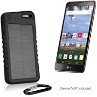 LG Stylo 2 Battery, BoxWave [Solar Rejuva PowerPack (5000mAh)] Solar Powered Backup Power Bank for LG Stylo 2 - Jet Black