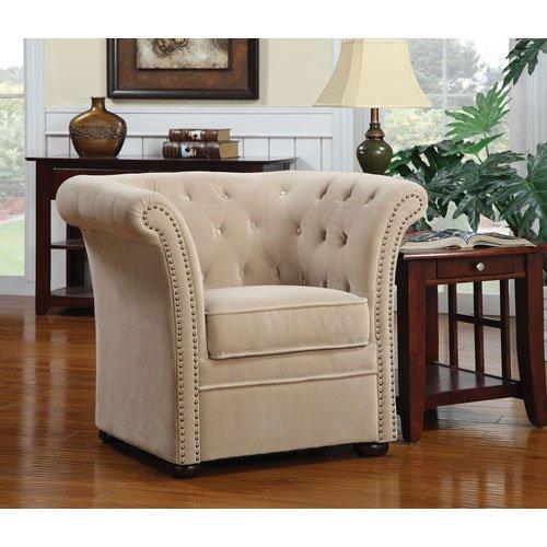 Amazon.com: Coaster 902034 High Back Chair With Round Wood Feet, Beige:  Kitchen U0026 Dining