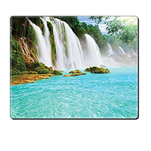 Mouse Pad Unique Custom Printed Mousepad Waterfall Decor Collection Ban Gioc Detian Waterfall Forest Tropical Waterscape Clear Pool Picture Accessories Turquoise Stitched Edge Non Slip - Race Ban