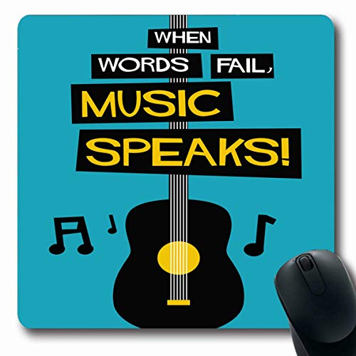 (Ahawoso Mousepads Entertainment Band When Words Fail Music Speaks Theatre Flat Abstract Blues Club Colors Concert Oblong Shape 7.9 x 9.5 Inches Non-Slip Gaming Mouse Pad Rubber Oblong Mat )