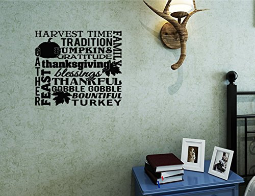 Bible 24x24 Harvest Time Family Thanksgiving Blessings Tradition Gather Feast Gobble Gobble Turkey Gratitude Collage Saying Wall Decal Sticker Art Mural Home Decor Quote Inspirational Wall (Collage Turkey)