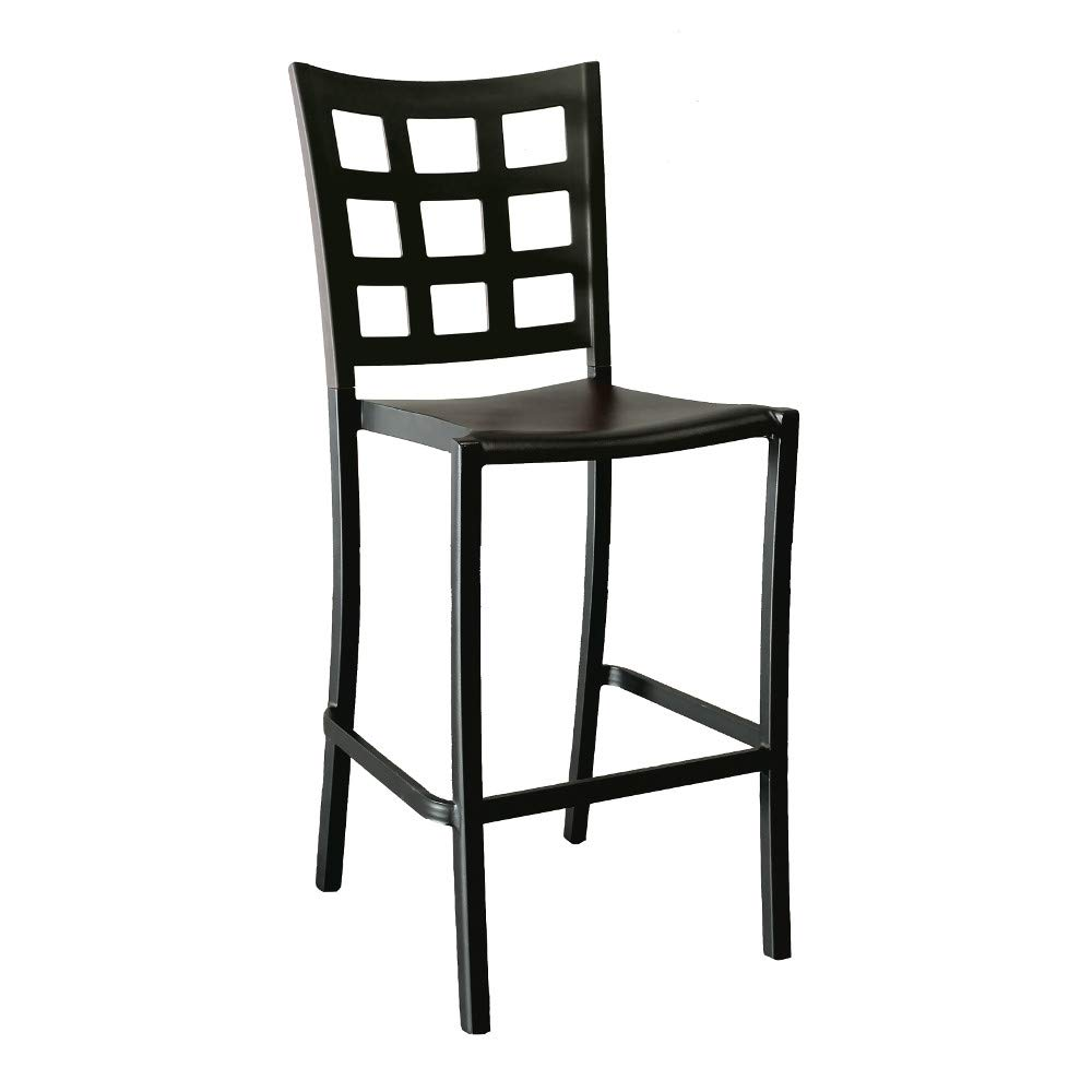 Grosfillex US046017 Plazza Stacking Barstool, Powder Coated Finish, Solid Black (Case of 2)