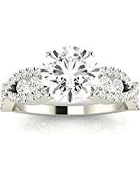 2.1 Carat t.w. Round Designer Twisting Eternity Channel Set Four Prong Diamond Engagement Ring J I1 Clarity Center Stones.