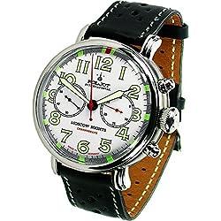 """'Poljot int Cronógrafo Reloj de hombre """"Moscow Nights cuerda manual mecánico banda de piel Russian Watch"""