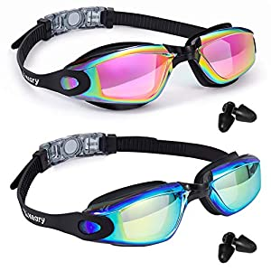 Keary 2 Pack Anti-Fog Swim Goggles for Adult Youth, No Leak Anti-UV Waterproof Triathlon Pool Goggles with 3 Nose Pieces