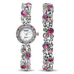 Fashion Diamond Round Shell Dial Steel Case&Band Bracelet Ladies Watch #W50120L.02A
