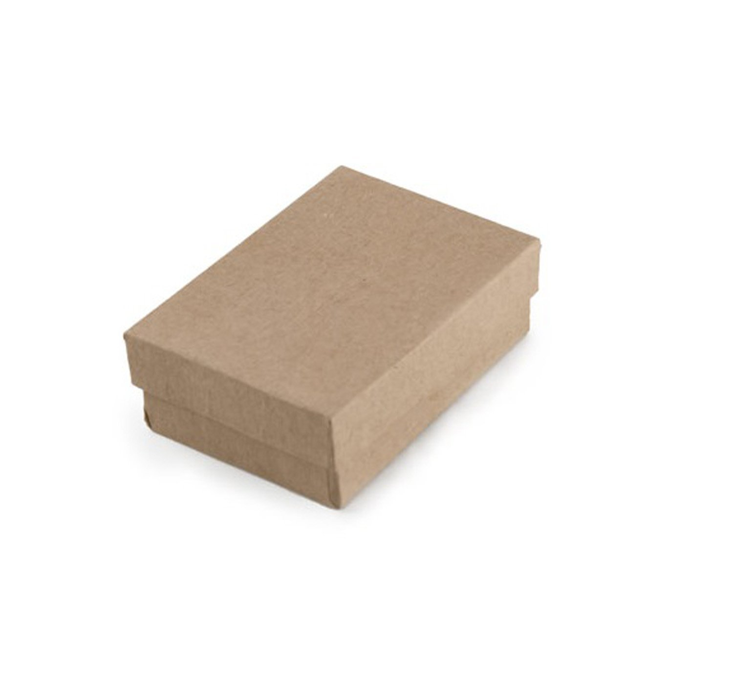 Tioneer Lot of 100 pcs 3 1/4 x 2 1/4'' x 1'' Kraft Cotton Filled Jewelry Boxes