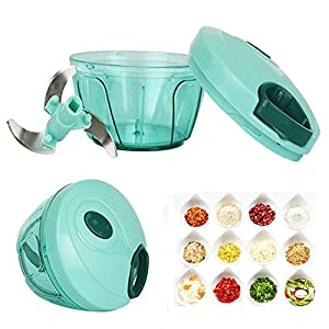 ALPHELIGANCE Manual Pull String Food Chopper Processor To Chop Fruits, Vegetables,Nuts,Garlics For Salad With 3 Mixing Blades