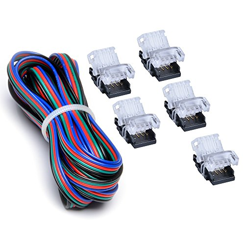 RGB LED Strip Connector Kit 4 Pin With Extension Wire UL Listed 9.8 Feet/3 Meter 22 Gauge 4 Conductor, DIY Both Strip to Power Lead and Strip to Strip Jumper, Non-waterproof Use. 5 Connector Packed