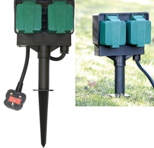 Elitezotec /© New 2 Way Outdoor Garden Sockets With 2m Rubber Cable Weather and WaterProof Plug For Outdoor