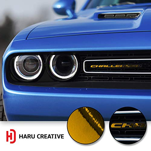 Haru Creative - Front Grille Hood Emblem Badge Nameplate Overlay Vinyl Decal Sticker Compatible with and Fits Dodge Challenger 2015 2016 2017 2018 - Chrome Gold