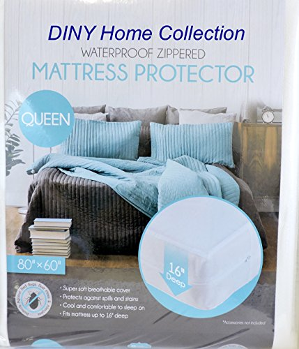 Queen Size Super Soft Waterproof Zippered Fabric Mattress Protector Bed Bug & Dust Mite Control Extra Wide 16-inch Deep Pocket (Queen Mattress Bed Bug Cover)