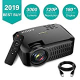 Portable Projector, 2018 Upgraded ABOX A2 Mini Projector, 3000 Lumens 1080P Supported LCD Video Projector, Multimedia Home Theater Projector Support HDMI USB SD Card VGA AV for Home Entertainment, Party and Games