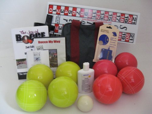 Everything Bocce Package - 110mm Epco Yellow and Light Red Balls, Score Tower... by Epco