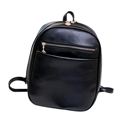 Backpacks - Jushye Fashion leather Backpacks Women Travel School Bag Mochila Feminina Bag (Black)