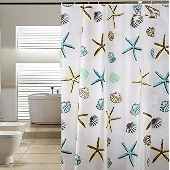 Blu Pier Decorative PEVA Mildew Free Water Repellant Shower Curtain 72x72  Comes With 12 Hooks
